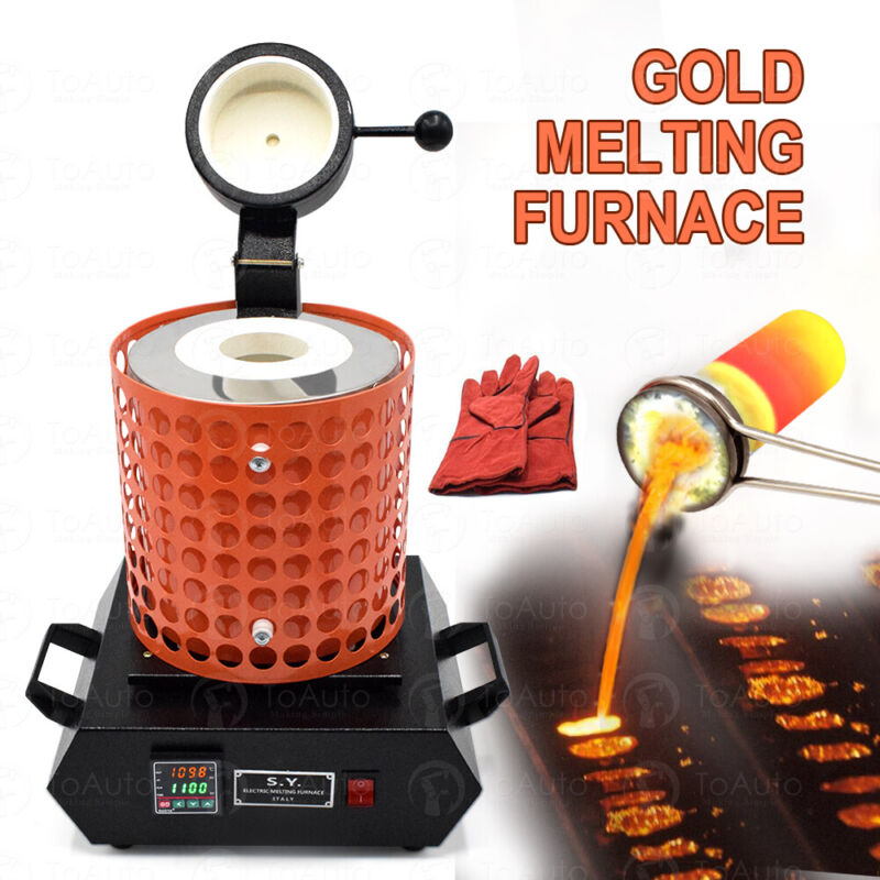 3KG Electric Metal Melting Furnace Kit Gold Silver + Graphite Crucible Ingot US