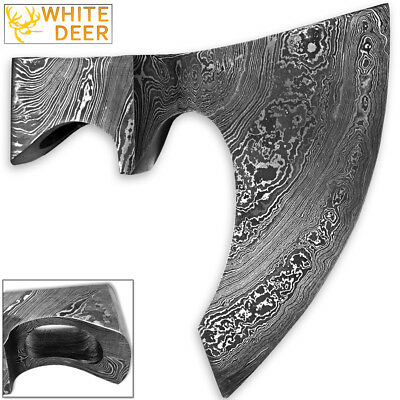 WHITE DEER Blank Axe Head Bit Damascus Steel Bearded Viking Hatchet Tomahawk