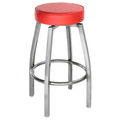 Clear Coat Metal Backless Restaurant Barstool With Red Vinyl Swivel Seat