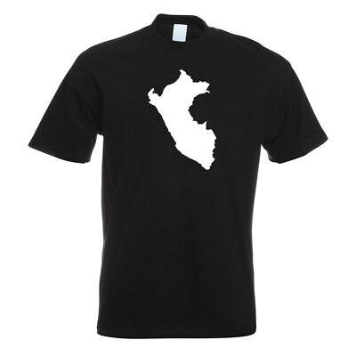 Peru Umriss Kontur  T-Shirt Motiv bedruckt Funshirt Design Print