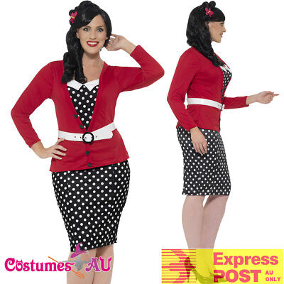 Ladies Curves 50s Pin Up Costume Rock n Roll Vintage Retro 1950s Plus Size - Plus Size Pin Up Costume
