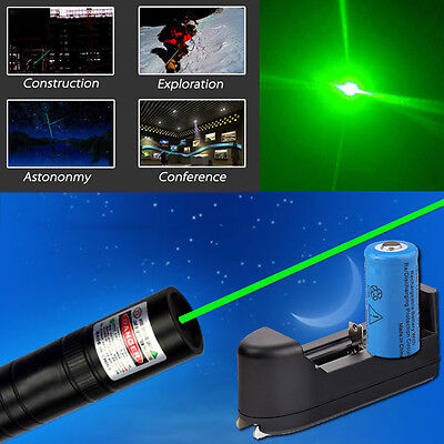 Waterproof 10 Miles 5mW 532nm Green Laser Pointer Pen Lazer+ Battery+ Charger