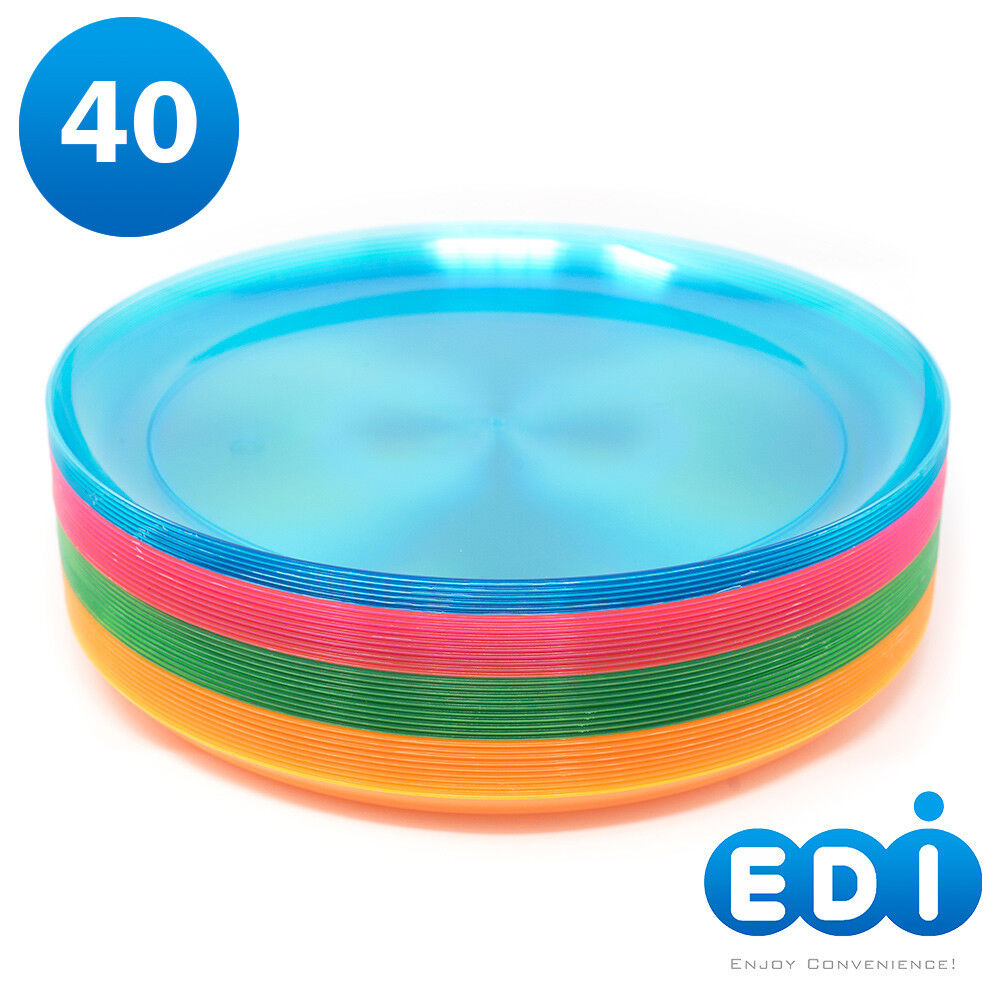 EDI Hard Plastic 9-Inch Round Party/Luncheon Plates, Assorte