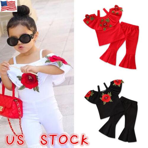 US Kids Baby Girl Off Shoulder Romper Jumpsuit Bell-Bottom P