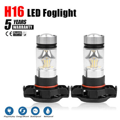 5202 H16 LED Fog Light Bulbs for 2007-2015 Chevy Silverado 1500 White 6000K 100W