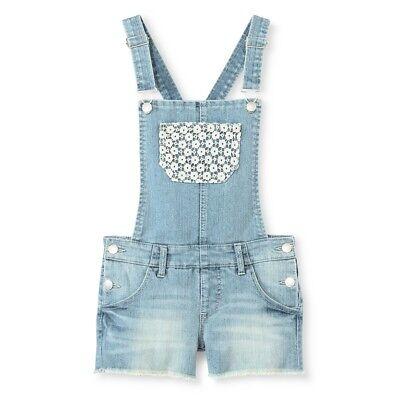 Cherokee Girls' Crochet Lace Pocket Light Denim Blue Jean Shortalls, Size S
