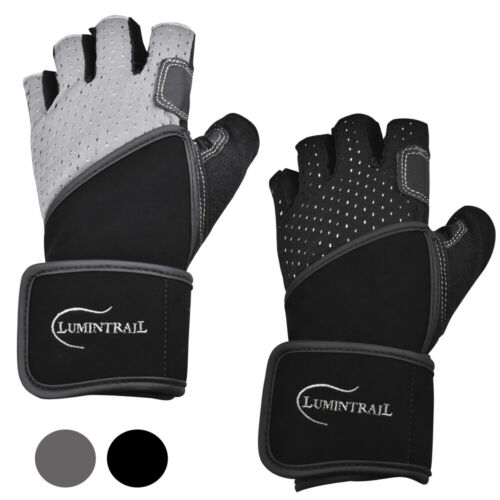 Lumintrail Leather Padded Anti-slip Weight Lifting Gloves W Wrist Wrap Support