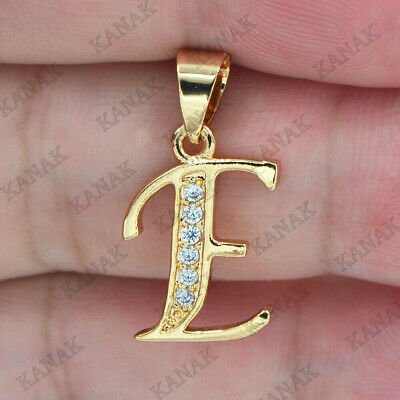 "Initial Letter ""E"" Charm Pendant Necklaces 0.10 Ct Diamond 10K Real Yellow Gold"