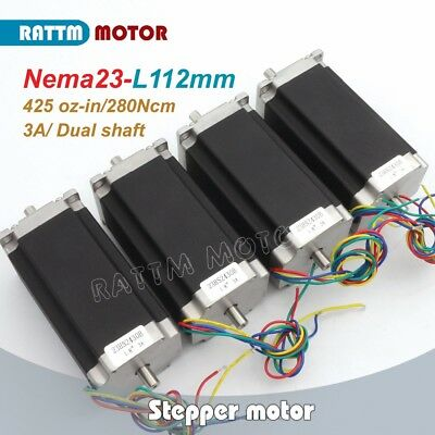 Dual Shaft 4pcs Nema23 Stepper Motor 112mm425oz-in3a For Cnc Engraving Machine