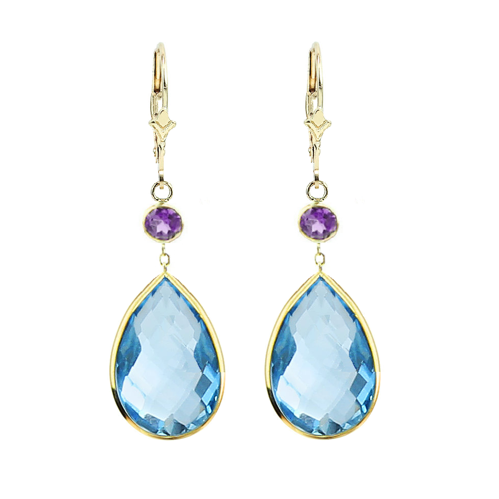 Lemon and Blue Topaz 14K Yellow Gold Gemstone Earrings With Amethyst