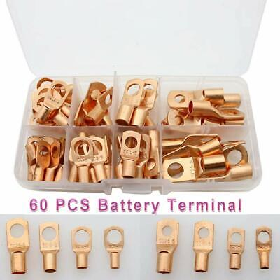 60pcs Bare Copper Lugs Terminals Electrical Battery Cable Lug Ring Connector Kit