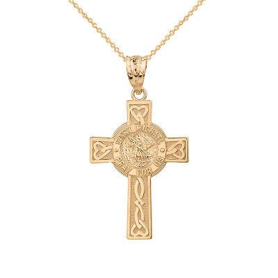 10k Yellow Gold Saint Michael Pray For Us Celtic Heart Cross Pendant Necklace
