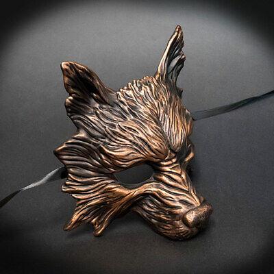 Wolf Animal Spirit Halloween Costume Wall Decoration Masquerade Mask [Copper] - Animal Mask Halloween