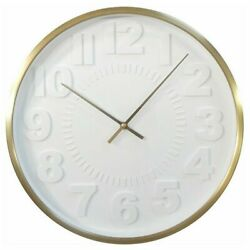 Project 62 Raised Number 16 Wall Clock White Face & Brass Frame