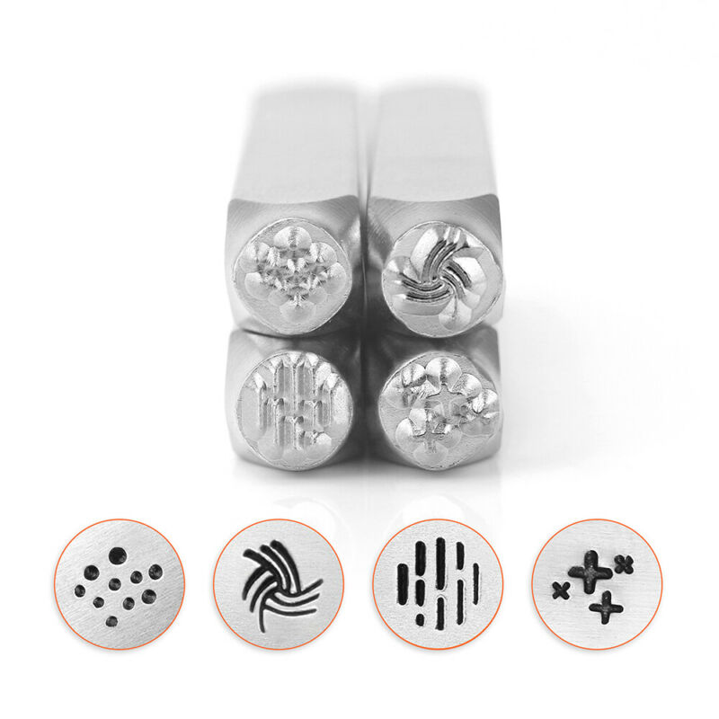 Texture Effect Metal Stamps Pack 4pc, DIY Jewelry Punch Set | ImpressArt 6mm