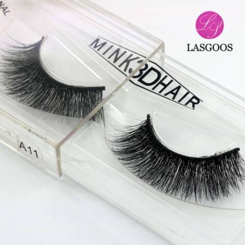 LASGOOS Design 3D 100% Real Mink False Eyelashes Cross Messy