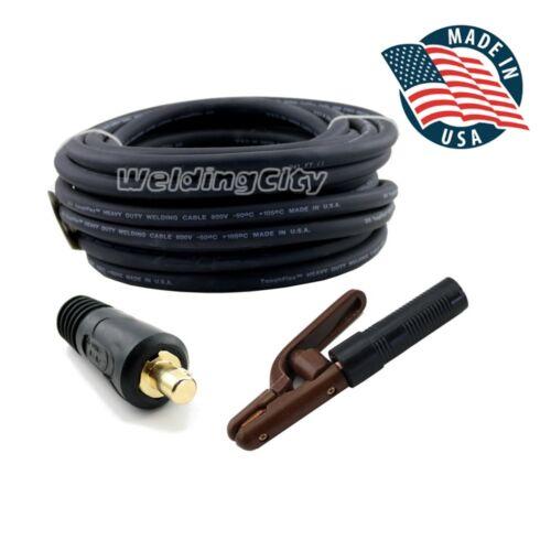WeldingCity 15-ft #2 Gauge 2-AWG Welding Cable Lead 300A Stick Holder Dinse Plug
