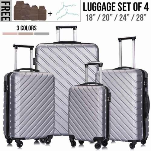 4PCS Hard Shell Luggage Set Travel ABS Bag Trolley Spinner B
