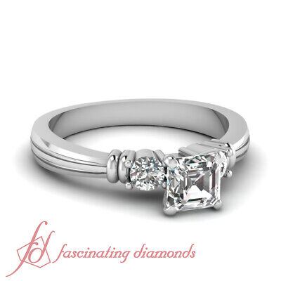 1.25 Ct Asscher Cut Past Present Future Diamond Rings White Gold GIA Certified