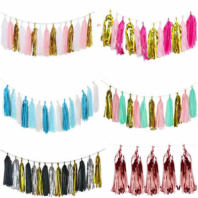15 Paper Tassels DIY Tissue Bunting Garland Wedding Birthday Party Hanging Decor