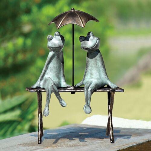 "Frog Lovers Garden Sculpture Frogs On Bench Under Umbrella Statue 18""H"