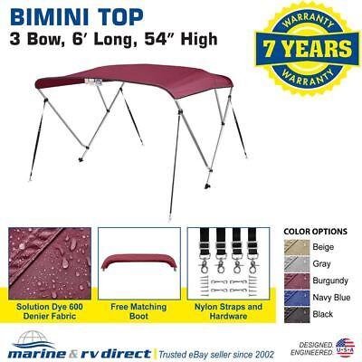 "New 4 Seasons Brand Boat Bimini Top Cover 3 Bow 54""H x 79""-84"" W Burgundy"
