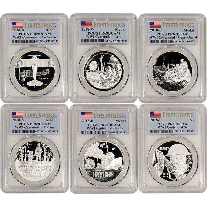 2018 US World War I Silver Six Coin & Medal Proof Set - PCGS PR69 First Strike