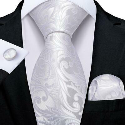USA White Silk Paisley Tie Set Mens Necktie Pocket Square Cufflinks Wedding  Circle White Cufflinks