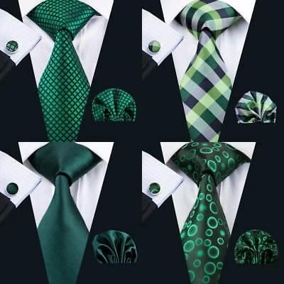 USA Men Ties Green Woven Tie Set with Hanky Cufflinks Solid Paisley Necktie