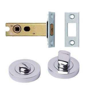 Polished Chrome Bathroom Thumb Turn Release + 64mm Deadbolt Lock Toilet Door Set