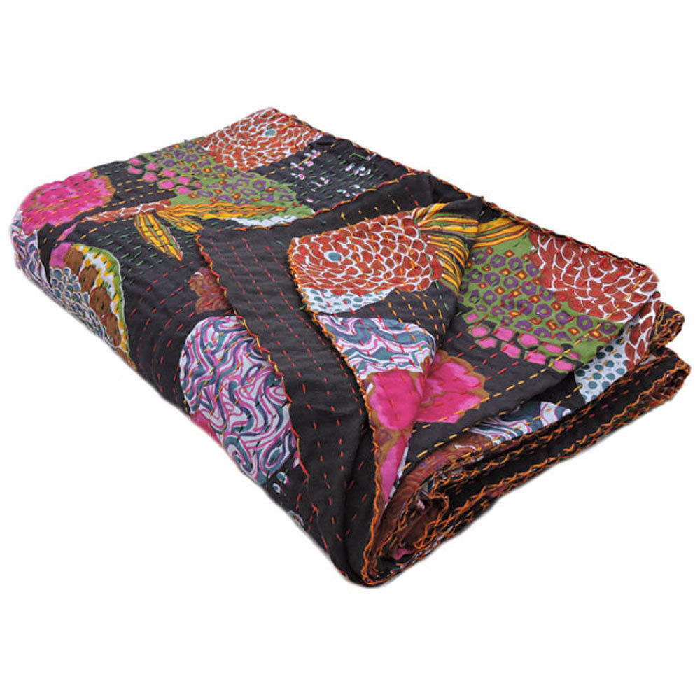 Black Kantha Indian Cover Twin Bedspread Handmade Quilt Bed