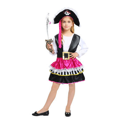 Pirate Girl Dress Up ( Girl's Flirty Pink Pirate Dress Up Kids Costume Cosplay Halloween Party)