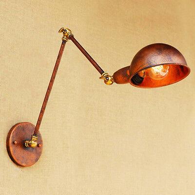 (Industrial Vintage Adjustable Swing Arm Light Sconce Wall Lamp Fixture Retro DIY)