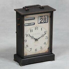 Large Antiqued Black Industrial Mantle Clock with Manual Calendar