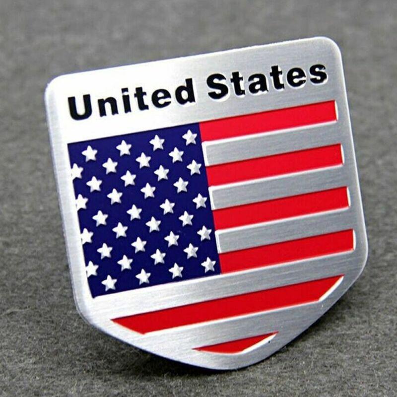 Aluminum Metal Emblem Sticker Decal USA American Flag Auto Car Badge