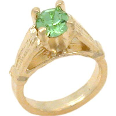 14K Gold Synthetic Peridot Ring Charm August Birthstone Birthstone 14k Gold Ring Charm