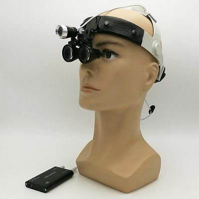 Dental Medical Surgical Binocular Loupes 3.5x Leather Headband Led Headlight