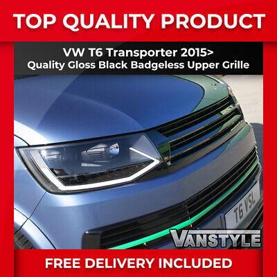 VW T6 TRANSPORTER 15-19 GLOSS BLACK ABS UPPER FRONT BADGELESS RADIATOR GRILLE