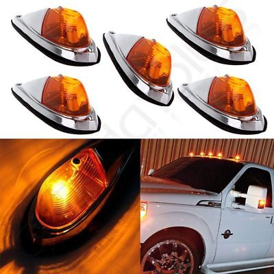 5X Truck Semi-trailer Chrome Base Amber Lens Cab Roof Top Light Amber LED (Amber Chrome Base)