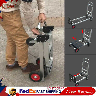 2 In 1 Aluminum Hand Truck Convertible Folding Dolly Cart 4 Wheels Utility Top