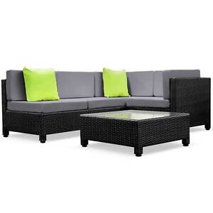 5 pcs Black Wicker Rattan 4 Seater Outdoor Lounge Set Grey North Melbourne Melbourne City Preview
