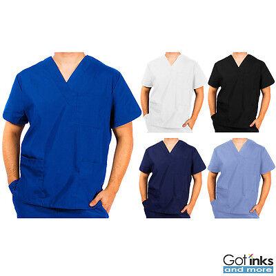 Unisex Men/Women Natural Uniforms Medical Hospital Nursing Scrub V-Neck Top