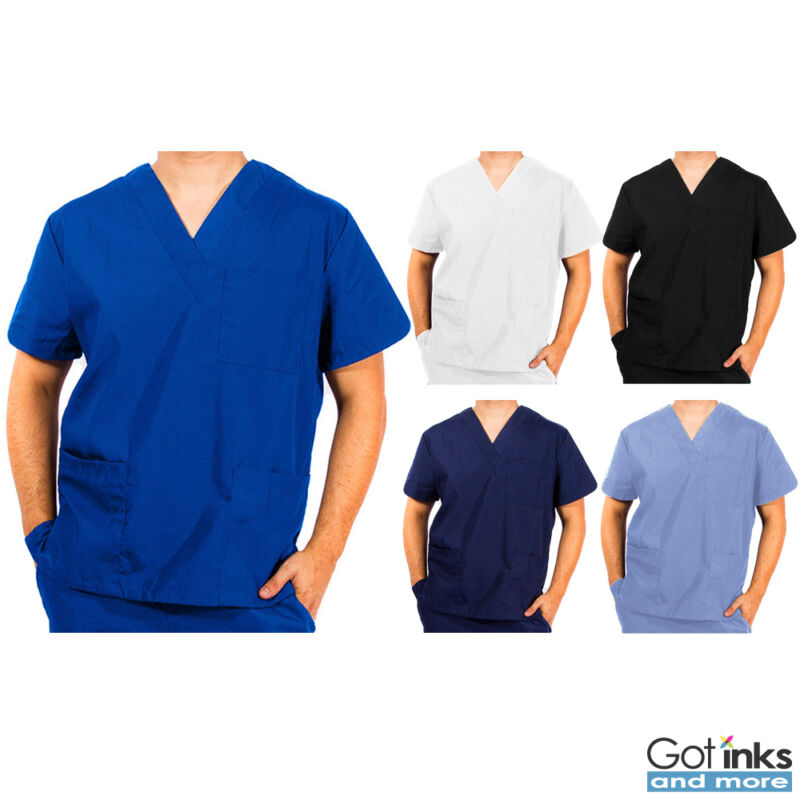 Unisex Men/Women Natural Uniforms Medical Hospital Nursing Scrub V-Neck Top