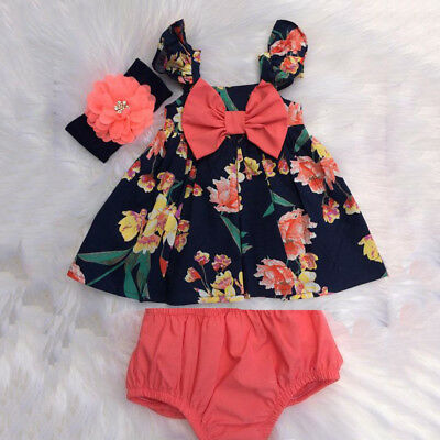 US Newborn Baby Girl Summer Clothes Flower Tops Dress Short Pants 2PCS - Dress Girl Baby