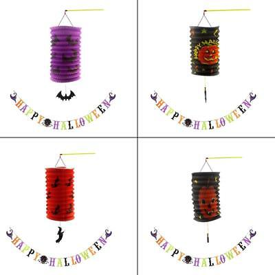 Indoor Party Use-Halloween Party Decor Paper Hanging Lanterns with Party Banner - Halloween Indoor Decorations