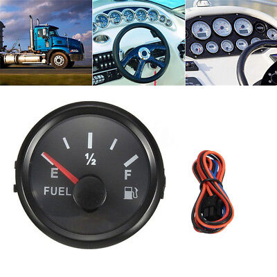 Black Bezel Gas Fuel Level Gauge Analogue Red LED Car Marine Boat 52mm 12V 24V