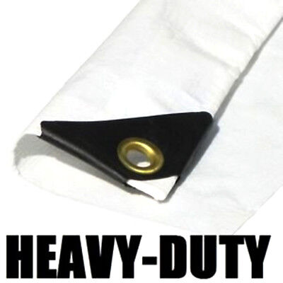 EXTRA Heavy Duty 12 mil White Tarp 3 Ply Coated Reinforced C