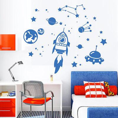 t Aufkleber Weltall (Cosmos) mit Sternen & Rakete Ufo Planet (Aufkleber-welt)