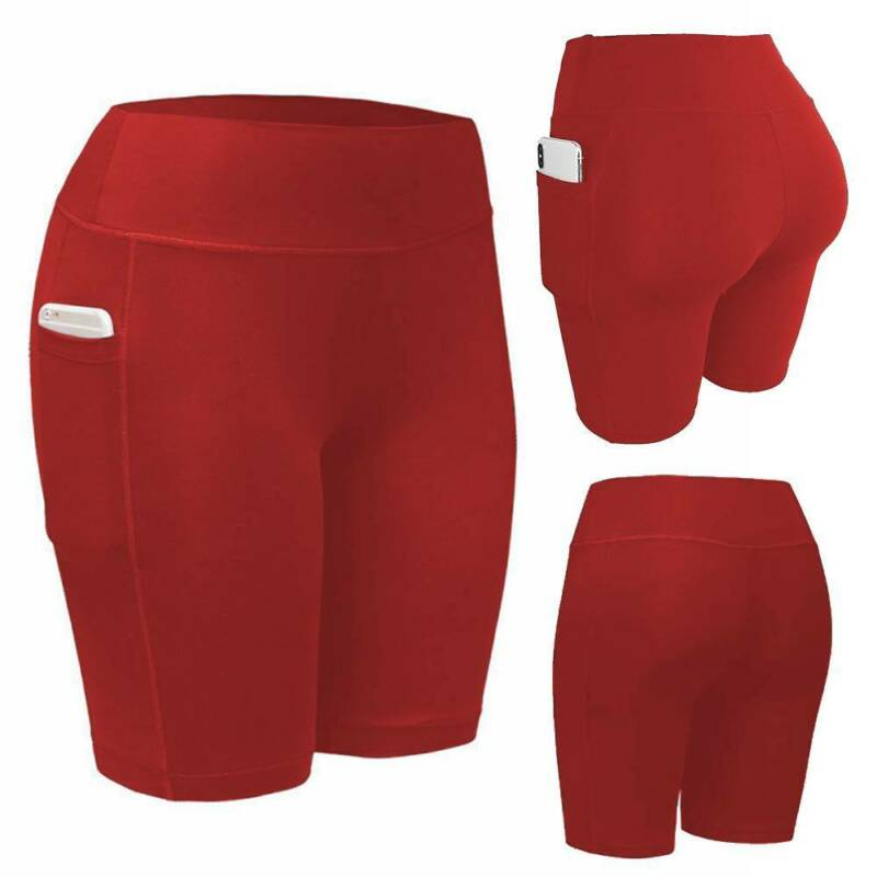 Frauen Hohe Taille Kurze Sporthose Compression Ruched Booty Heiße Hosen Bermudas