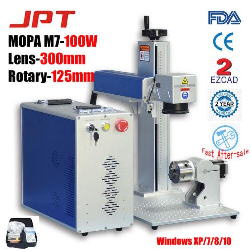 100W JPT MOPA Fiber Laser Marker Engraver Cutting Lens 300mm Rotary #125 EZCAD2